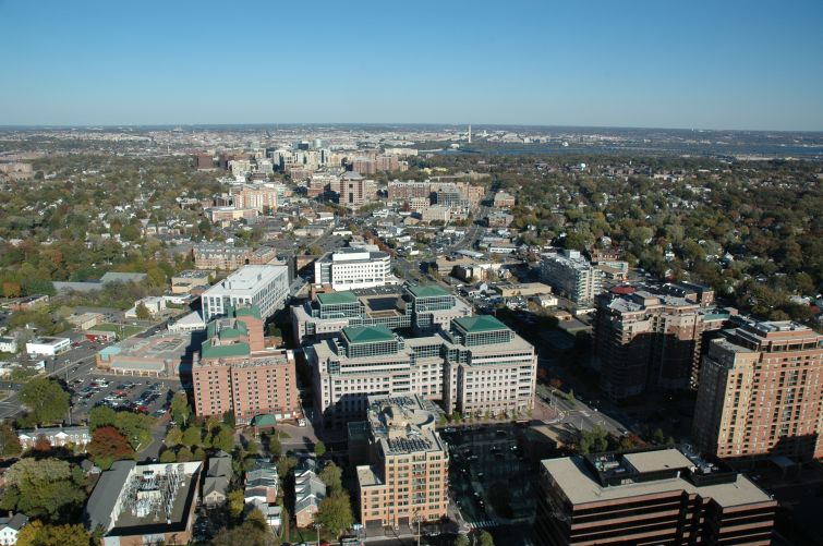 Aerial shot of Ballston neighborhood in Arlington, Va.