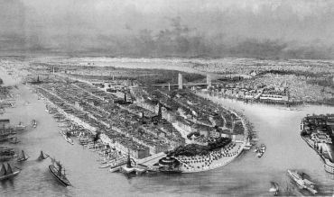 Castle Clinton, The Battery and the Financial District in 1880.