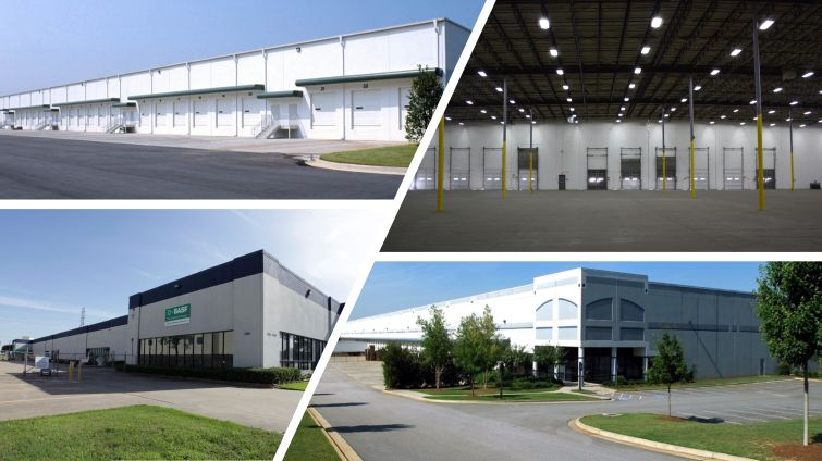 Top Right: Southpoint Distribution Center I and II at 4655 East Shelby Drive in Memphis, Tenn.; Top Left: 3550 Southside Industrial at 3550 Southside Industrial Parkway in Atlanta; Bottom left: Crosspoint Warehouse at 1701 Crosspoint Avenue in Houston; Bottom Right: Southpark 3075 at 3075 South Park Blvd in Ellenwood, Ga.
