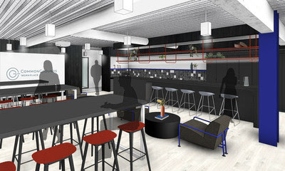 Rendering of second-floor communal pantry and event space at CommonGrounds Workplace.