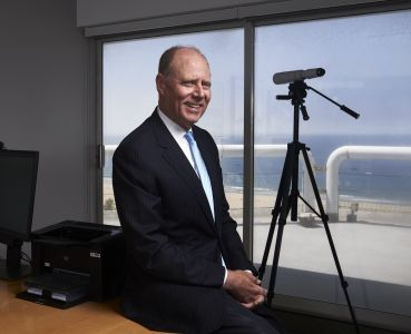 Paul Rutter sits in his Santa Monica office.
