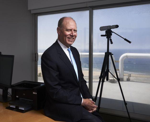 Paul Rutter sits in his Santa Monica office.
