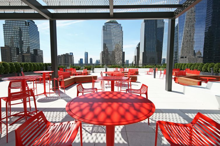 The new terrace at 3 World Trade Center is getting a coffee bar and already has evening programming that includes yoga classes and concerts.