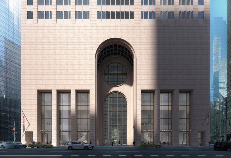 A rendering of 550 Madison's facade post-renovation.