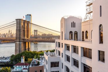 The renovation of the former Jehovah's Witnesses' headquarters at 25 and 30 Columbia Heights in Dumbo into office space uncovered several terraces, including this one facing the Brooklyn Bridge.