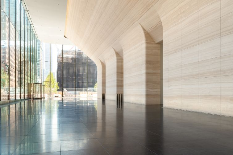 Designed by SOM, One Manhattan West's lobby features 400 tons of carved white Italian marble along the walls.