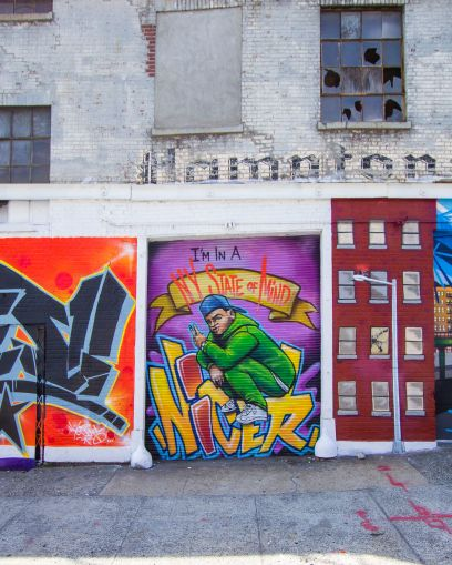 The owners worked with local muralists TATS CRU to paint a series of walls across the street.