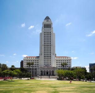 Los Angeles City Hall. The city is facing pushback on its TOC program for multifamily development.
