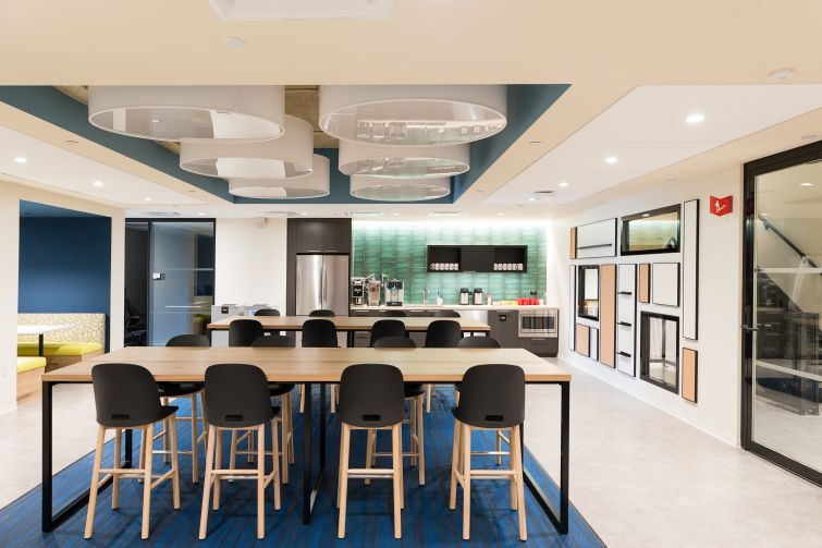 Macmillan's new 260,000-square-foot offices include nine separate pantries, each of which has a slightly different color scheme.