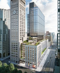 A rendering of One Madison Avenue on the border of Madison Square Park. Plans call for a new tower on top of the building's existing podium which will deliver 22 floors of office space.