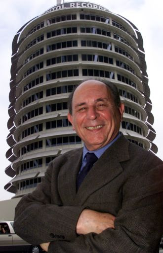 Lou Naidorf in front of his masterpiece, the Capitol Records building.