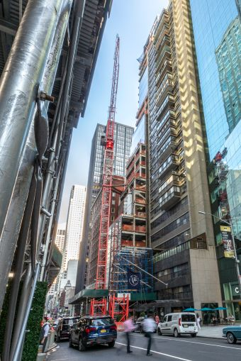 A look at the under-construction facade of 106 West 56th Street.