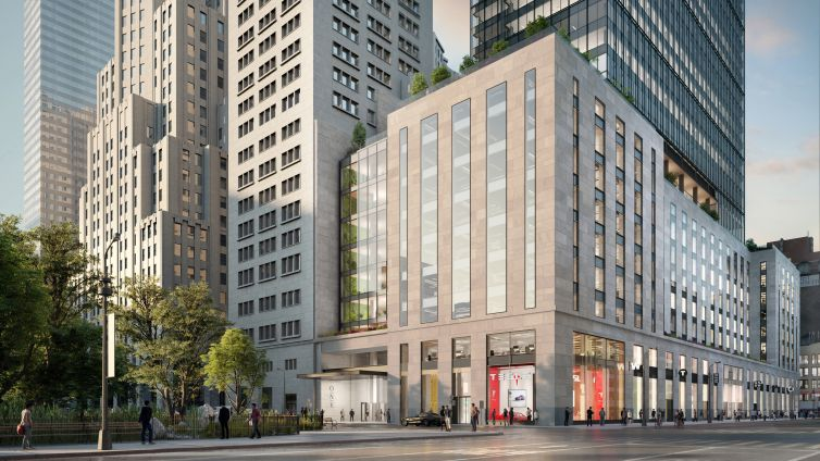 A rendering of the building's new Madison Avenue entrance, where the adjoining upper facade will be replaced with a glass curtain wall.
