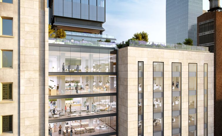 A rendering of future office space and terraces at One Madison Avenue.
