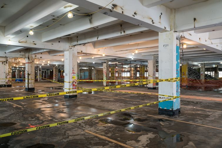 Demolition work is underway at the 1930s-era former warehouse in Hudson Square, where the largest floor plates will reach 155,000 square feet.