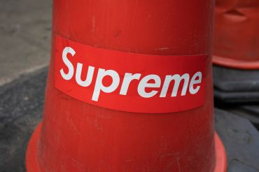 A Supreme logo on a traffic cone in London.