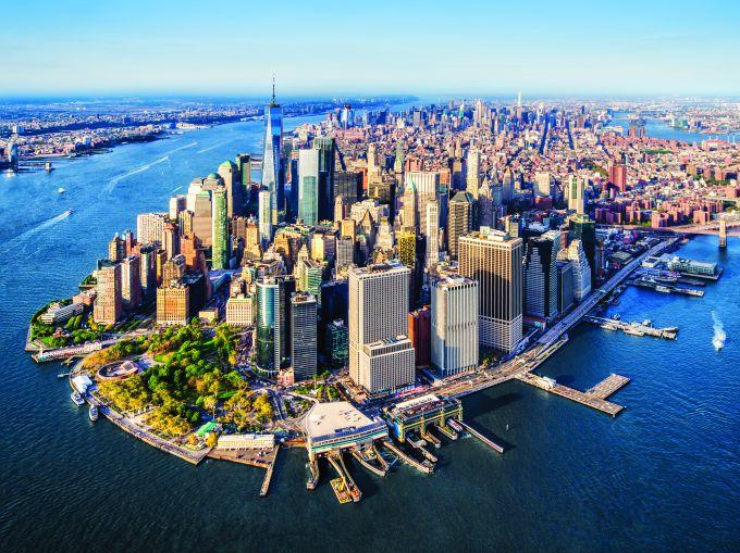aerial view of Lower Manhattan. New York