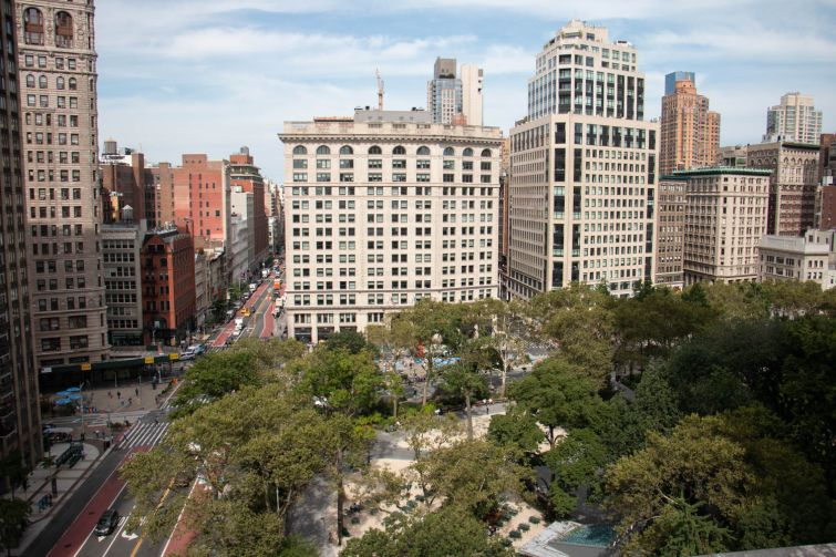 A view of Madison Square Park from the planned terrace at One Madison Avenue.