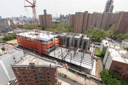 A construction site in Manhattanville near the new residential project.