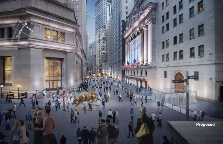 Downtown Alliance is still trying to push forward a plan to make the area around the New York Stock Exchange more pedestrian friendly and less filled with intrusive security infrastructure.