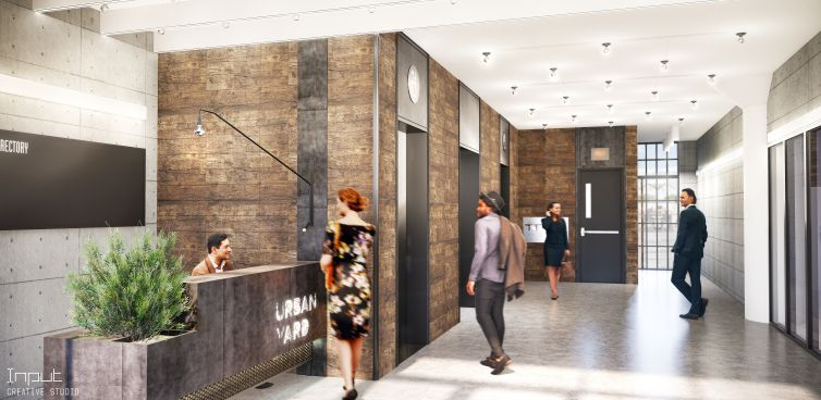 The buildings will also get a new central lobby with an industrial vibe.