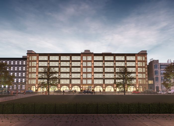 The warehouses will be combined into three office buildings joined by a common interior courtyard, shared basement space with a fitness center and bike parking, and a roof deck.
