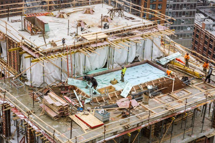 Construction crews at new West Chelsea development site.