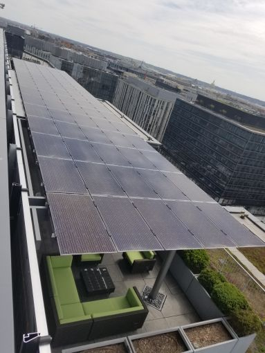 The green roof and solar panel at 1101 New York Avenue NW