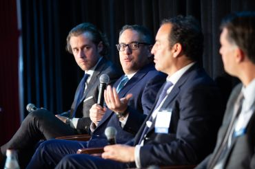 From left to right: Dustin Stolly, Gavin Evans, Michael May and Matt Petrula, speaking as part of the fourth and final panel at CO's 4th annual Fall Financing Commercial Real Estate Forum.