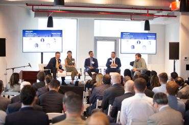 From left: Moderator Jonathan Mechanic of Fried Frank, Gabby Cohen of Rent the Runway, JEMB Realty's Morris Jerome, Meridian Investment Sales' Adam Hess and Two Trees Management's Jed Walentas at the Brooklyn Queens Forum.
