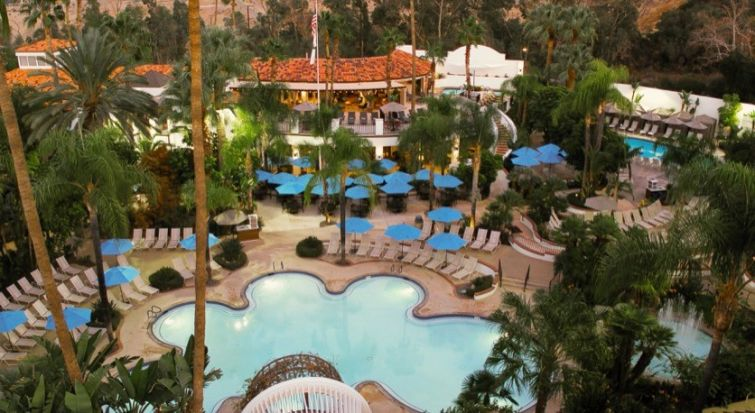 An aerial view of a pool area within Glen Ivy Hot Springs.