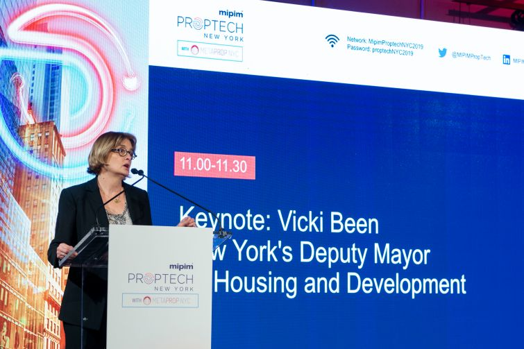 New York City's Deputy Mayor of Housing and Development Vicki Been speaking at the MIPIM Proptech conference.