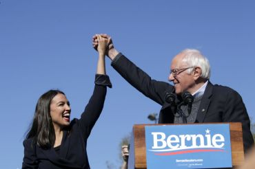 Bernie Sanders and Alexandria Ocasio-Cortez.