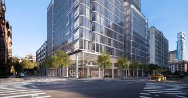 A rendering of the base of 565 Broome Street.