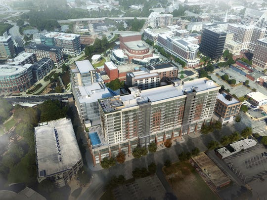 A rendering of Camperdown Square in Greenville, S.C.