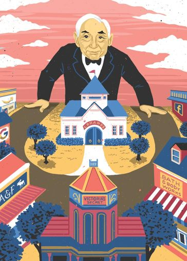 An illustration of Les Wexner over New Albany
