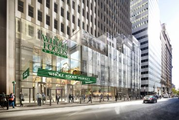 A rendering of the planned Whole Foods at One Wall Street in the Financial District.