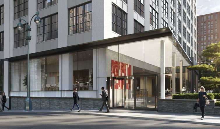 A rendering of the exterior of SL Green's 410 Tenth Avenue, which is undergoing redevelopment.
