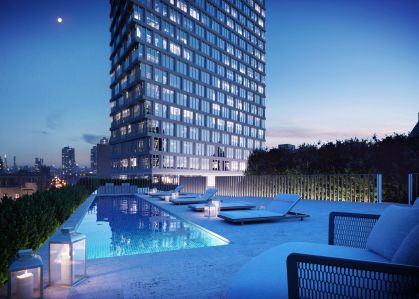 A rendering of the outdoor pool area at 550 Clinton Avenue.