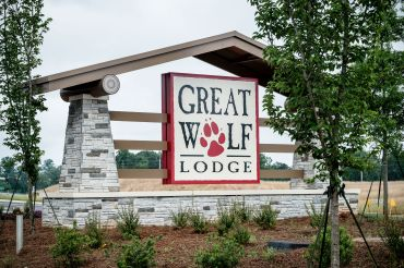 A sign outside the new Great Wolf Lodge in Lagrange, Ga., which opened in May 2018.