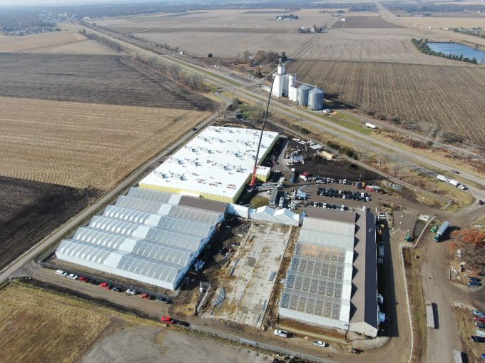 An aerial view of the Lincoln, Ill. cultivation facility leased by Cresco Labs.
