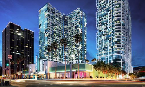 A rendering of the towers that are set to rise next to the headquarters of AIDS Healthcare Foundation, left, which opposed the project and sued the city over development in Hollywood.