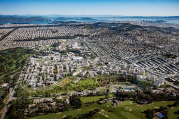 An aerial rendering of Parkmerced in San Francisco.