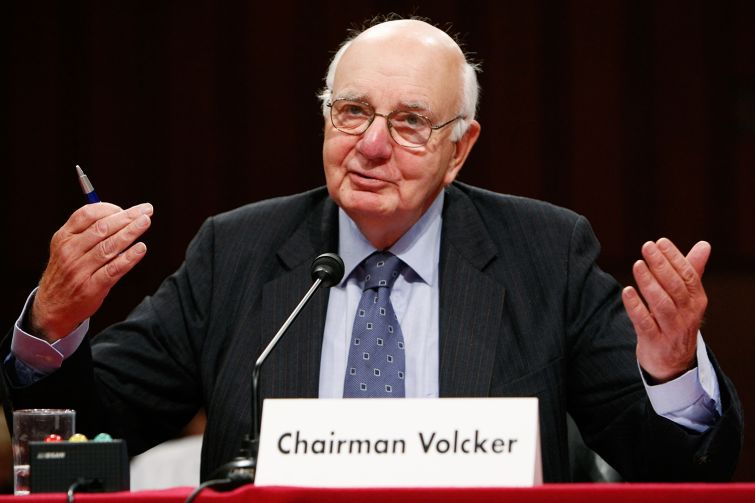 Paul Volcker testifying on Capitol Hill in 2008.