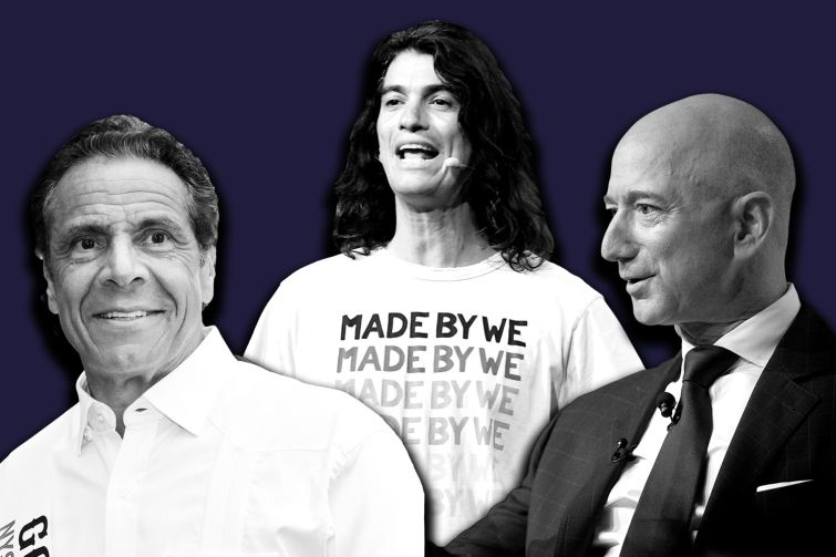 From left: Andrew Cuomo, Adam Neumann and Jeff Bezos