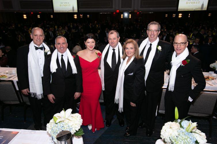 REBNY124 Honorees: Henry Celestino; Kevin Wang; Robin Fisher; James Whelan, REBNY President; Jodi Pulice; William Rudin, REBNY Chairman; David Greenbaum.