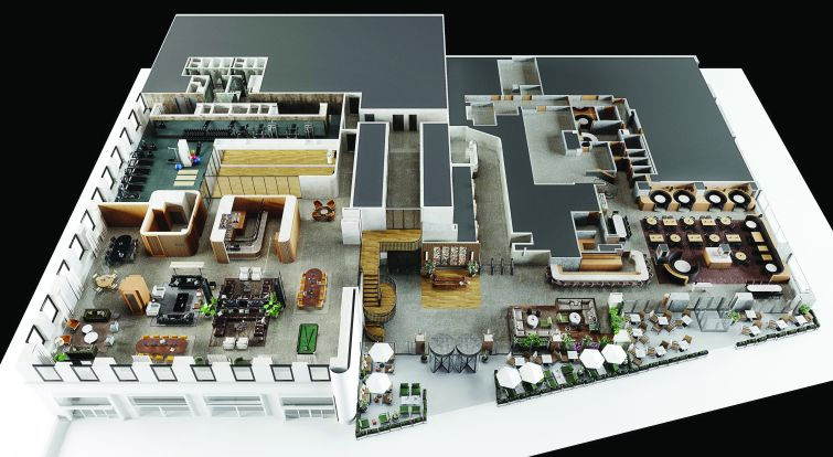An overhead view of the planned renovation at 1740 Broadway, which includes a new wooden staircase between the two floors.