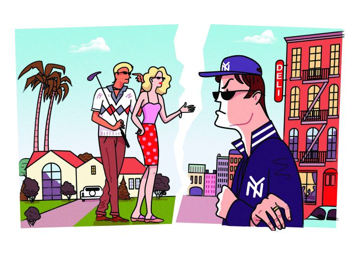 A drawing of a New Yorker looking angrily at Los Angeles' residents.
