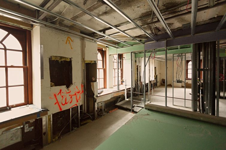 Construction on a memory care floor, which will offer round-the-clock care for patients with dementia and Alzheimer's.
