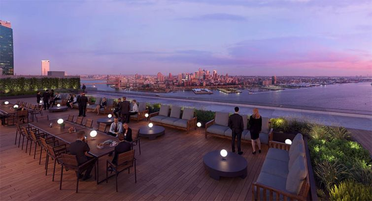 A rendering of 111 Wall Street's roof deck.